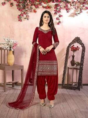 Real Glass Work  Art silk Patiyala Suit In Red