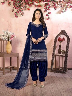 Real Glass Work  Art silk Patiyala Suit In Navy Blue