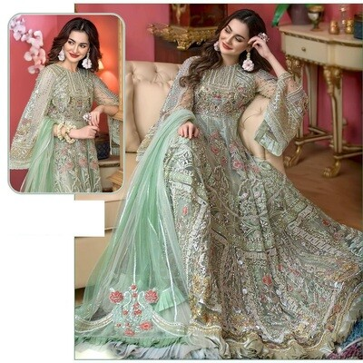 Embroidered Butterfly Net Anarkali Suit In Sea Green