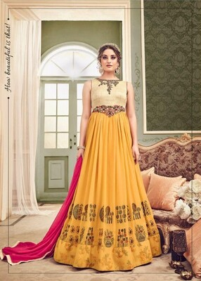 Embroidered Heavy Georgette Anarkali Suit In Mustard Yellow