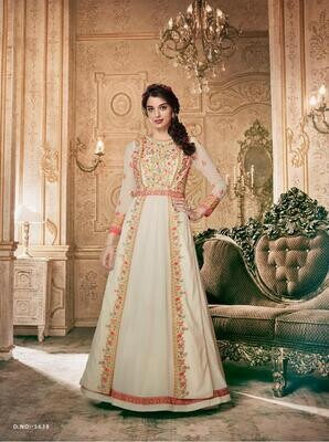 Embroidered Heavy Georgette Anarkali Suit In Off White