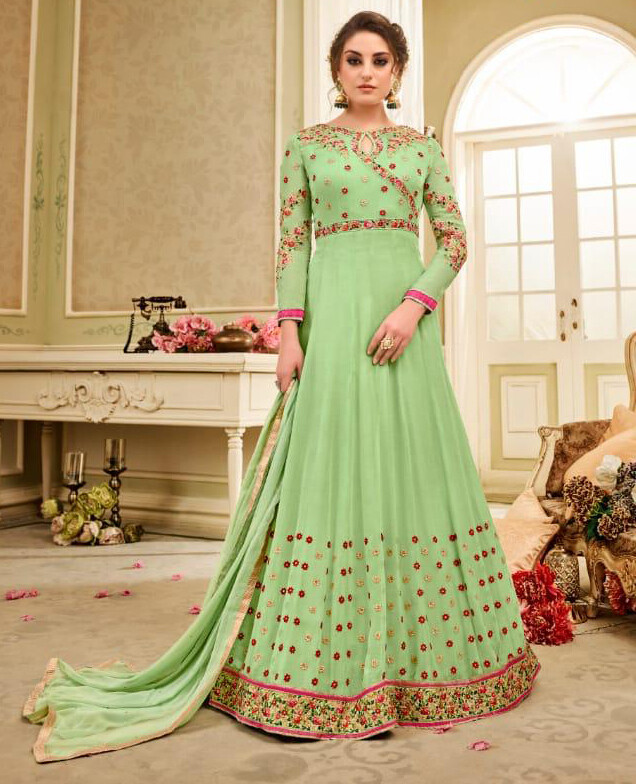 Embroidered Heavy Georgette Anarkali Suit In Light Green