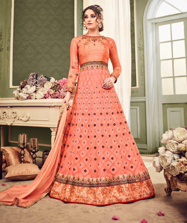 Embroidered Heavy Georgette Anarkali Suit In Peach