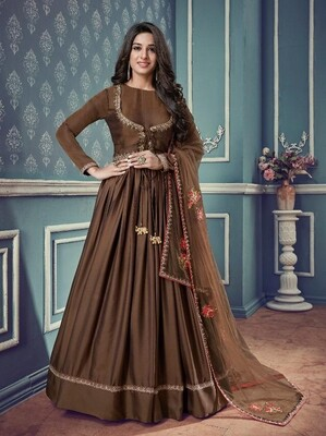 Embroidered Pure Barfi silk Anarkali Suit In Brown