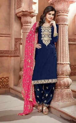 Embroidered Chanderi  Punjabi Suit In Navy Blue