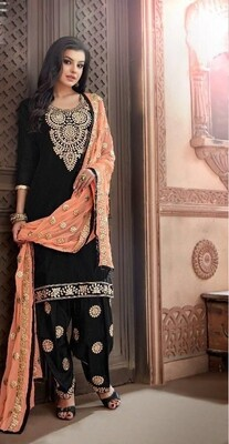 Embroidered Chanderi  Punjabi Suit In Black