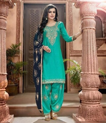 Embroidered Chanderi  Punjabi Suit In Teal Blue