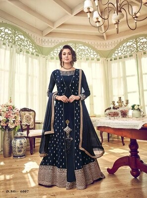 Embroidered Premium Net  Anarkali Suit In Navy Blue