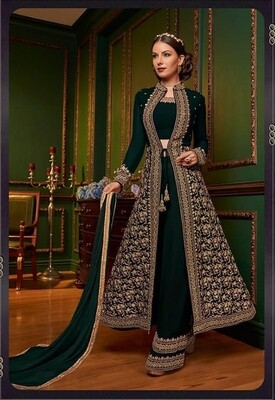 Embroidered Swiss Georgette Anarkali Suit In Green