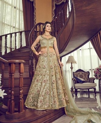 Embroidered Premium Net Anarkali Suit In Sea Green