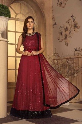 Embroidered Sequence Faux Georgette Pakistani Suit In Red
