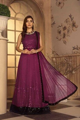 Embroidered Sequence Faux Georgette Pakistani Suit In Purple