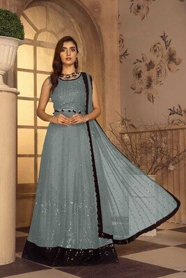 Embroidered Sequence Faux Georgette Pakistani Suit In Grey
