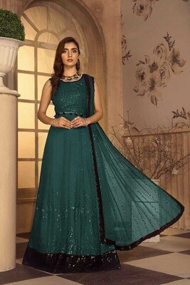 Embroidered Sequence Faux Georgette Pakistani Suit In Green