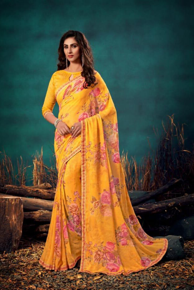 Printed Georgette Saree In Mustard Yellow