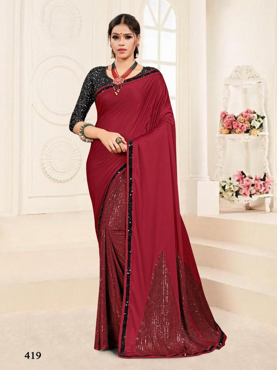 Embroidery Imported Stretchable Lycra Saree In Deep Red