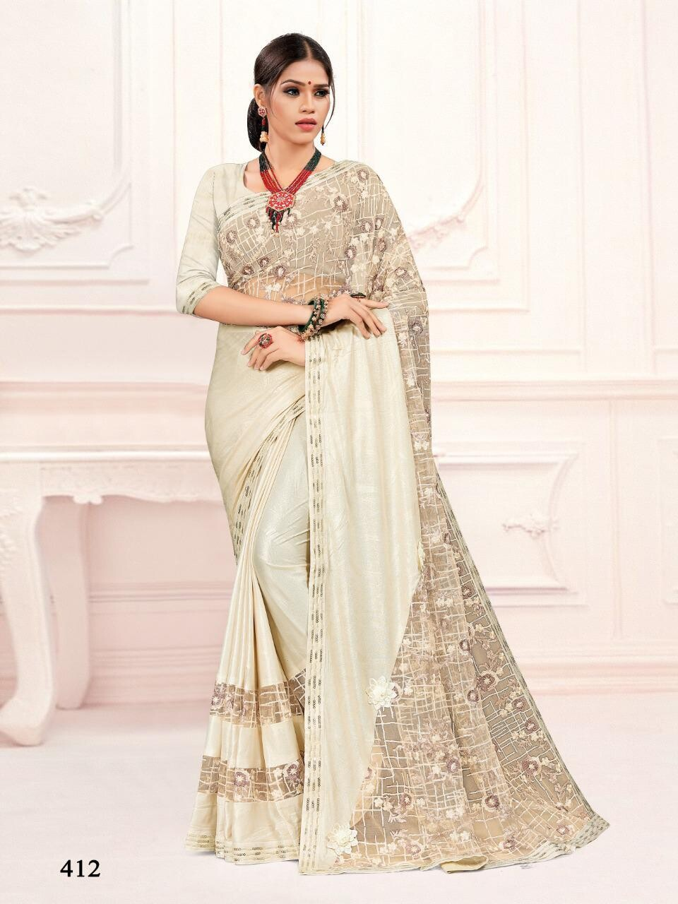 Embroidery Imported Stretchable Lycra Saree In Off White