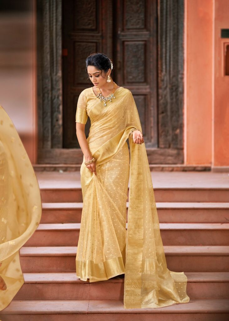 Weaving Jari Tissue Saree In Yellow