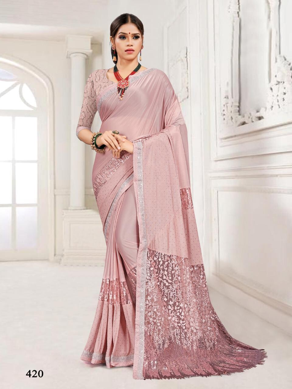 Embroidery Imported Stretchable Lycra Saree In Light Pink