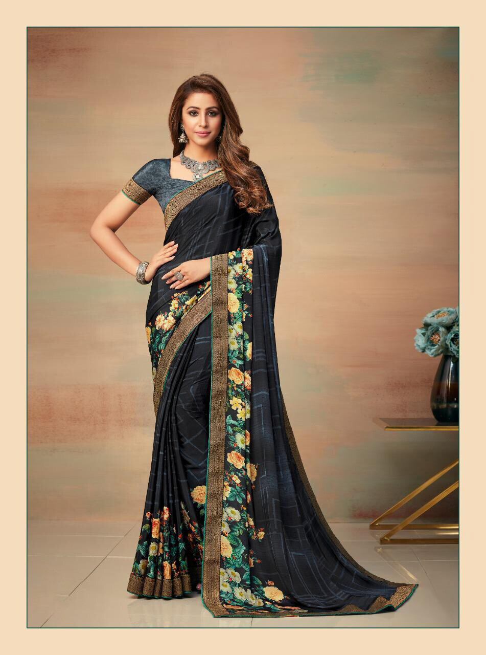 Banarasi Border Silk Crepe Saree In Black