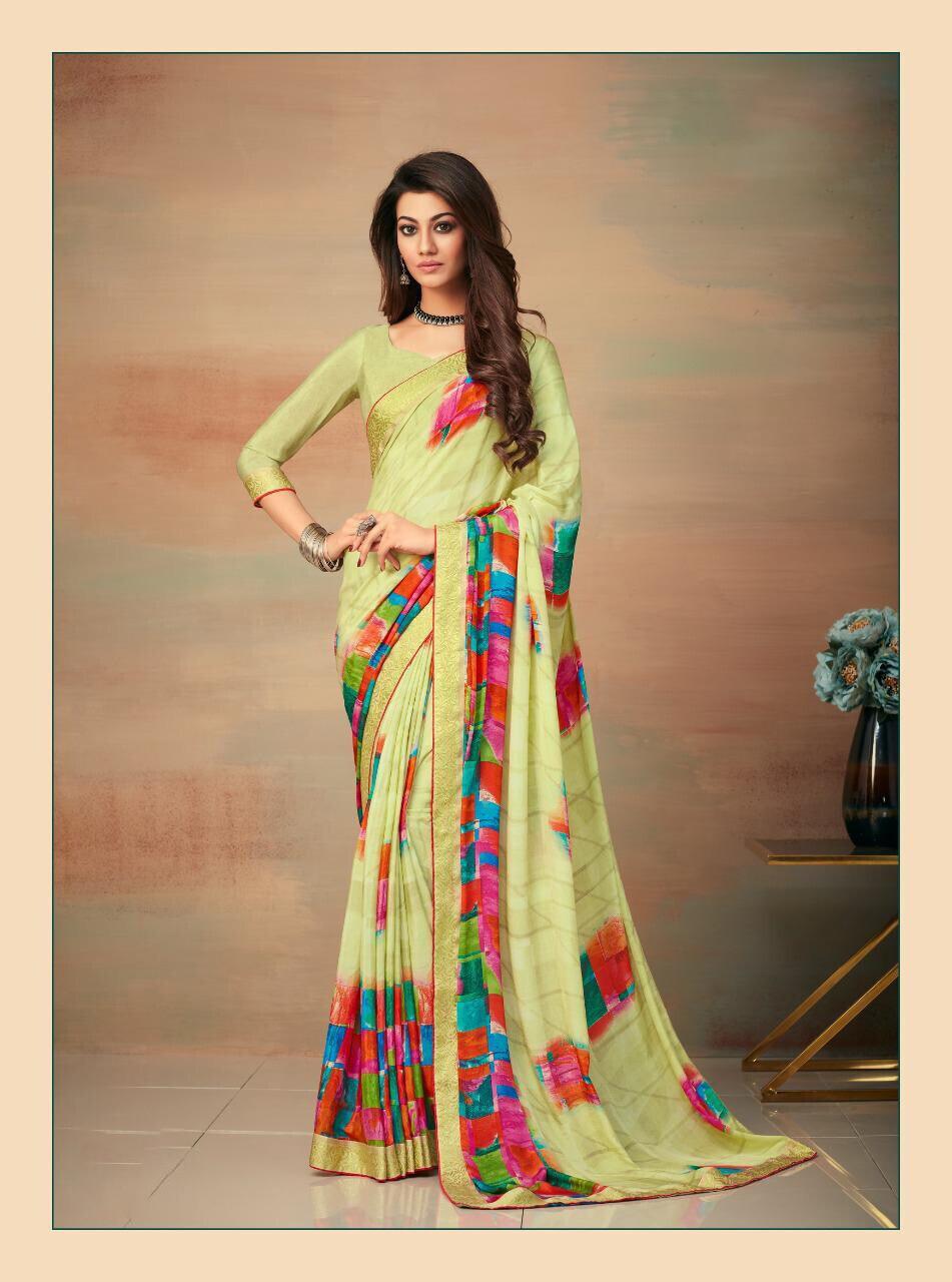 Banarasi Border Silk Crepe Saree In Light Green