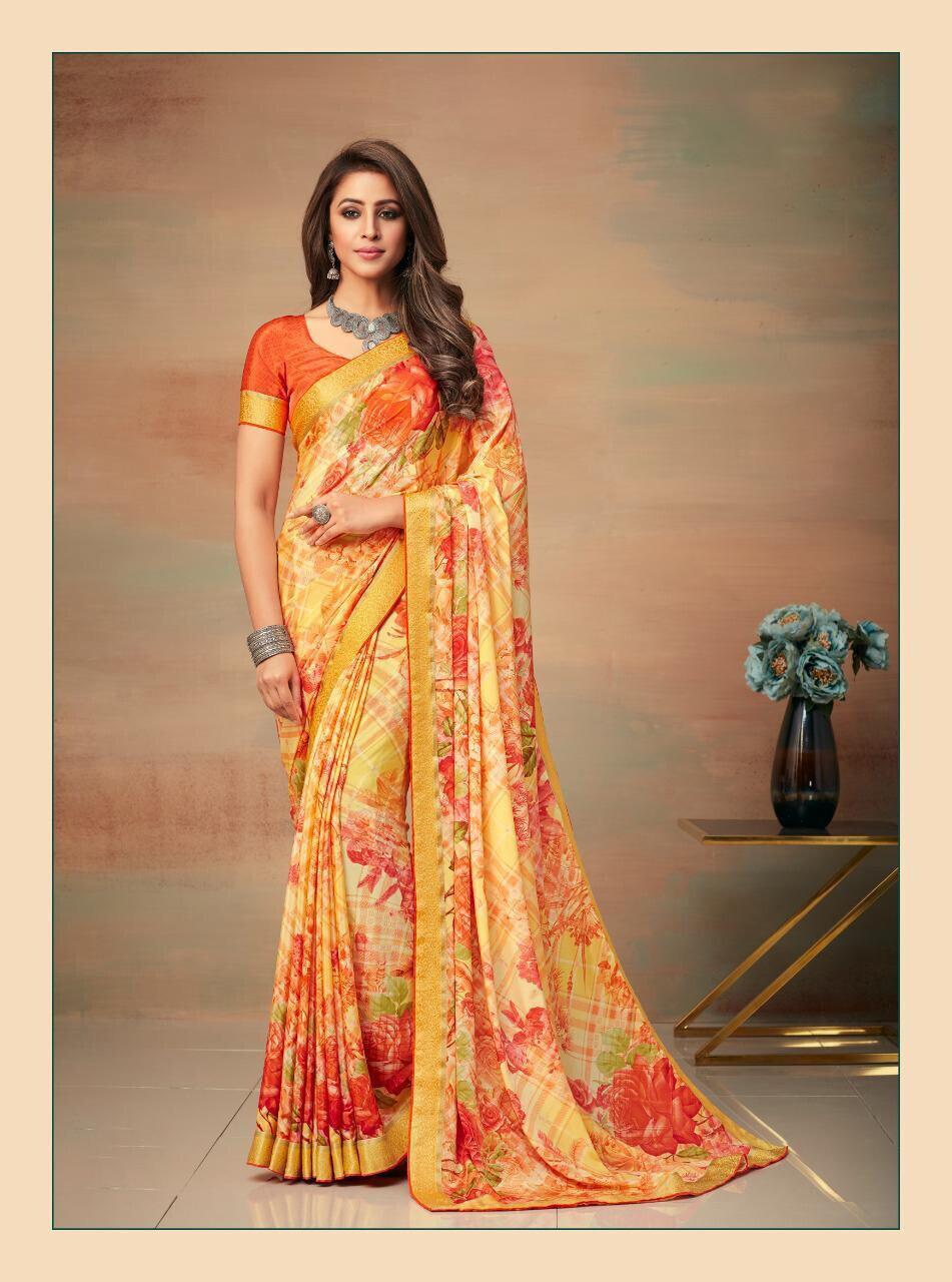 Banarasi Border Silk Crepe Saree In Orange