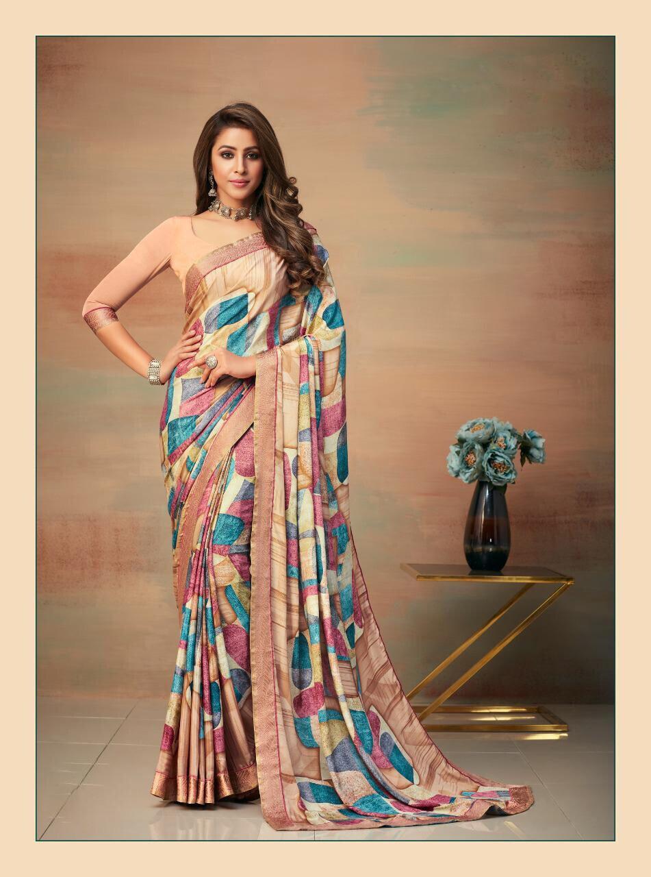 Banarasi Border Silk Crepe Saree In Cream