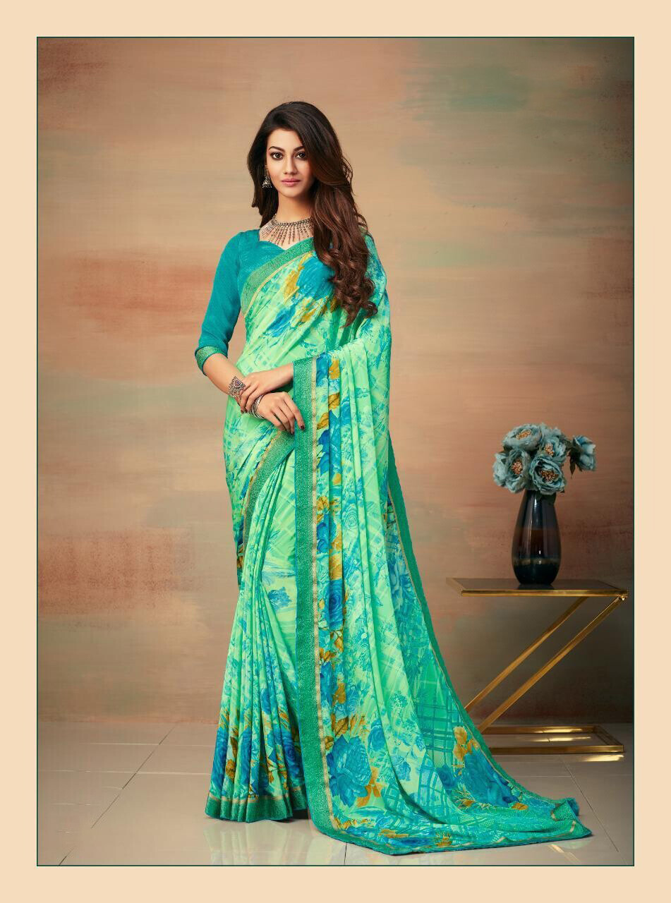 Banarasi Border Silk Crepe Saree In Blue