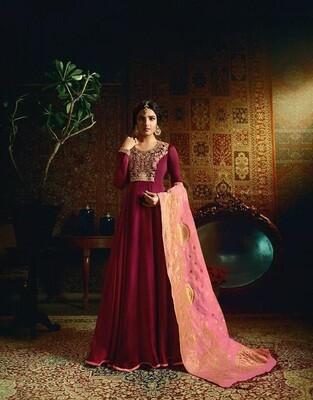 Embroidered Satin Georgette Anarkali Suit In Wine