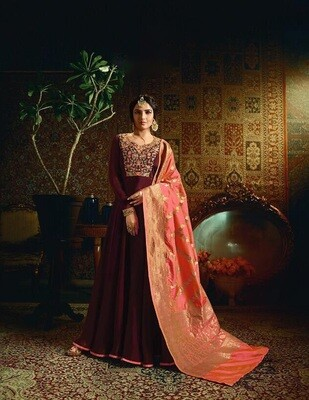 Embroidered Satin Georgette Anarkali Suit In Maroon