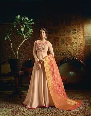 Embroidered Satin Georgette Anarkali Suit In Cream
