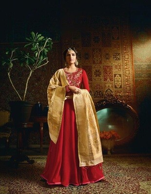 Embroidered Satin Georgette Anarkali Suit In Red