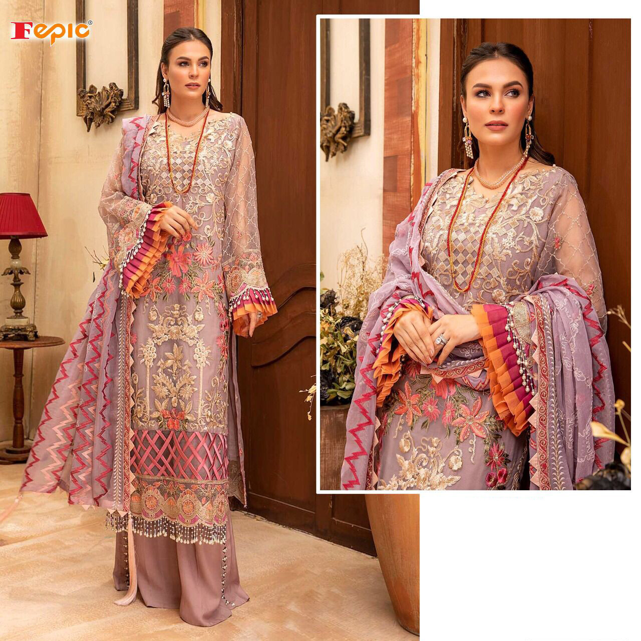 Embroidered Organza Pakistani Suit In Lavender