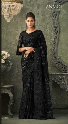Sequence Georgette Saree In Black