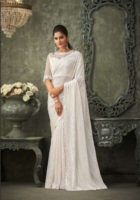 Sequence Georgette Saree In White