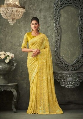 Sequence Georgette Saree In Lemon Yellow