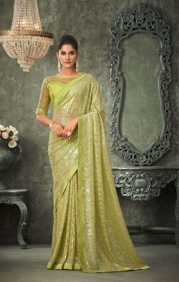 Sequence Georgette Saree In Parrot Green