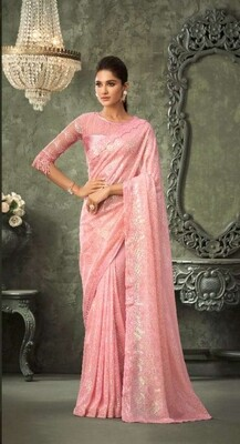 Sequence Georgette Saree In Pink