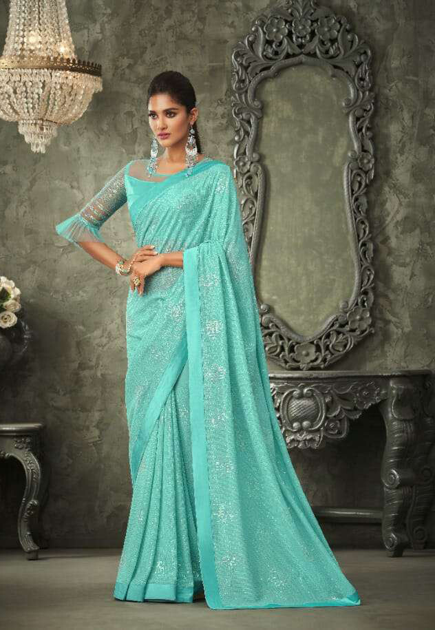Sequence Georgette Saree In Blue