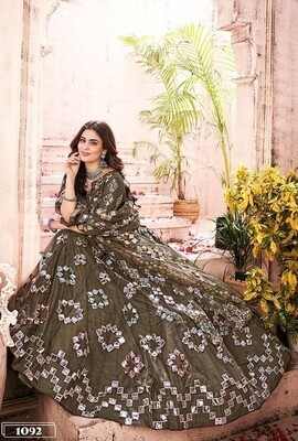Foil Mirror With Thread Work Soft Net Lehenga In Olive Green