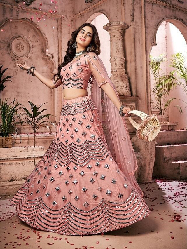 Foil Mirror With Thread Work Soft Net Lehenga In Pink
