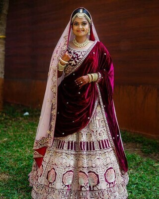 Bridal Wear Maroon Color Velvet Lehenga Choli With Two Dupatta