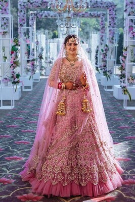 Bridal Wear Ruffle Style Pink Color Embroidery Work Lehenga Choli With Double Dupatta