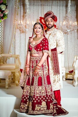 Bridal Red Colored Embroidery Work Velvet Lehenga Choli