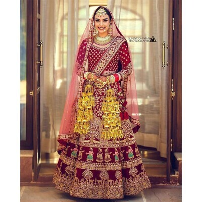 9000 Velvet Maroon Color Bridal Lehenga Choli With Double Dupatta