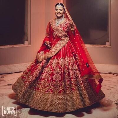 Bridal Wear Red Color Malay Satin Embroidery Work Lehenga Choli