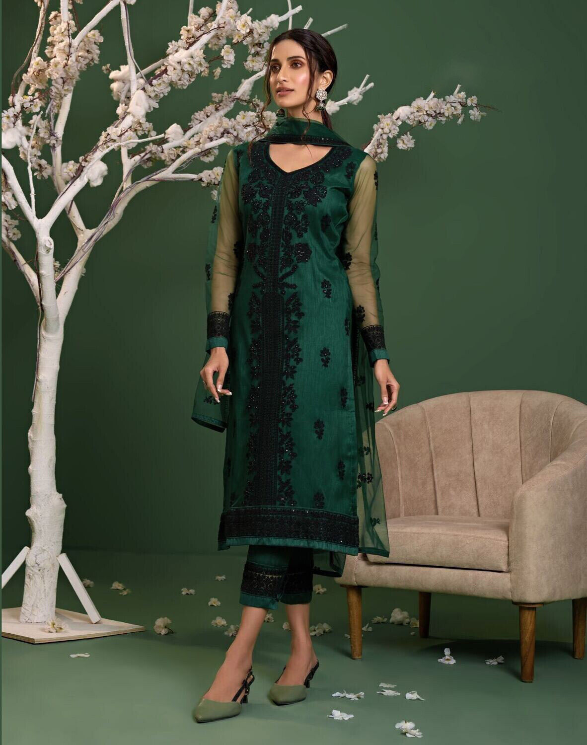 Sequence Embroidered Net Pakistani Suit In Green