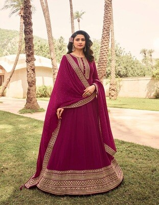 Embroidered Georgette Anarkali Suit In Rani