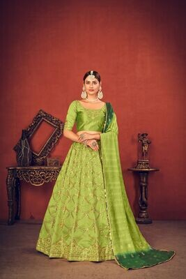 Thread Sequence Embroidered Art Silk Lehenga Choli In Parrot Green