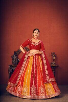 Thread Sequence Embroidered Art Silk Lehenga Choli In Orange Red